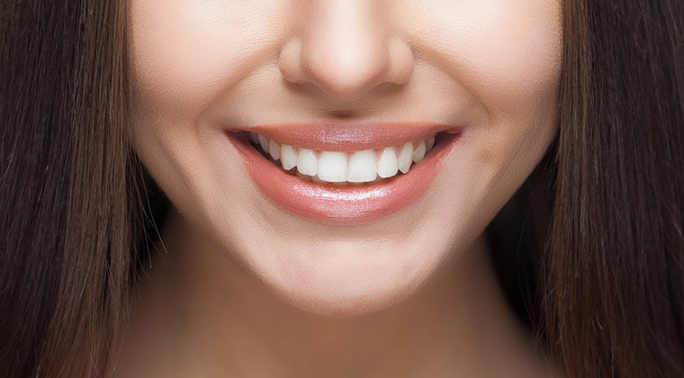 Beautiful woman smile. Teeth white