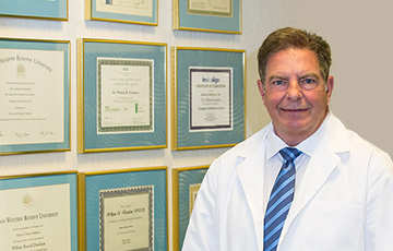 Doctor with certificates